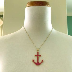 Jewelry - Pink Enamel and Gold-Tone Anchor Necklace NWOT